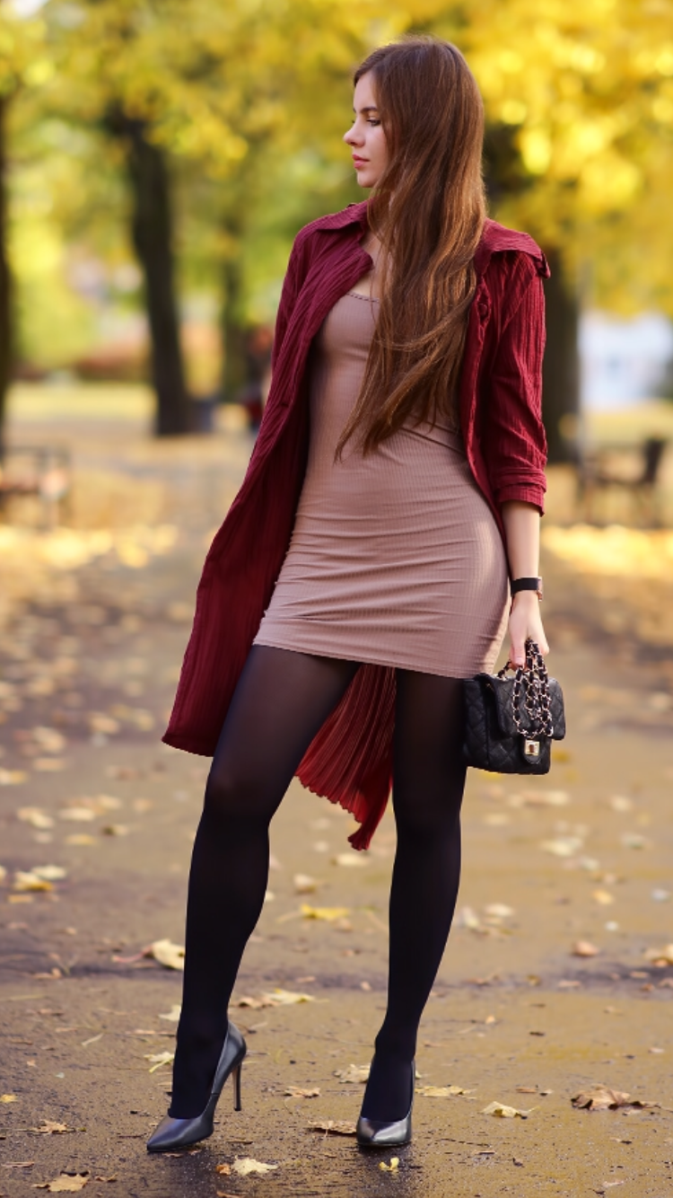 Burgundy Long Coat Tight Black Dress Black Tights And
