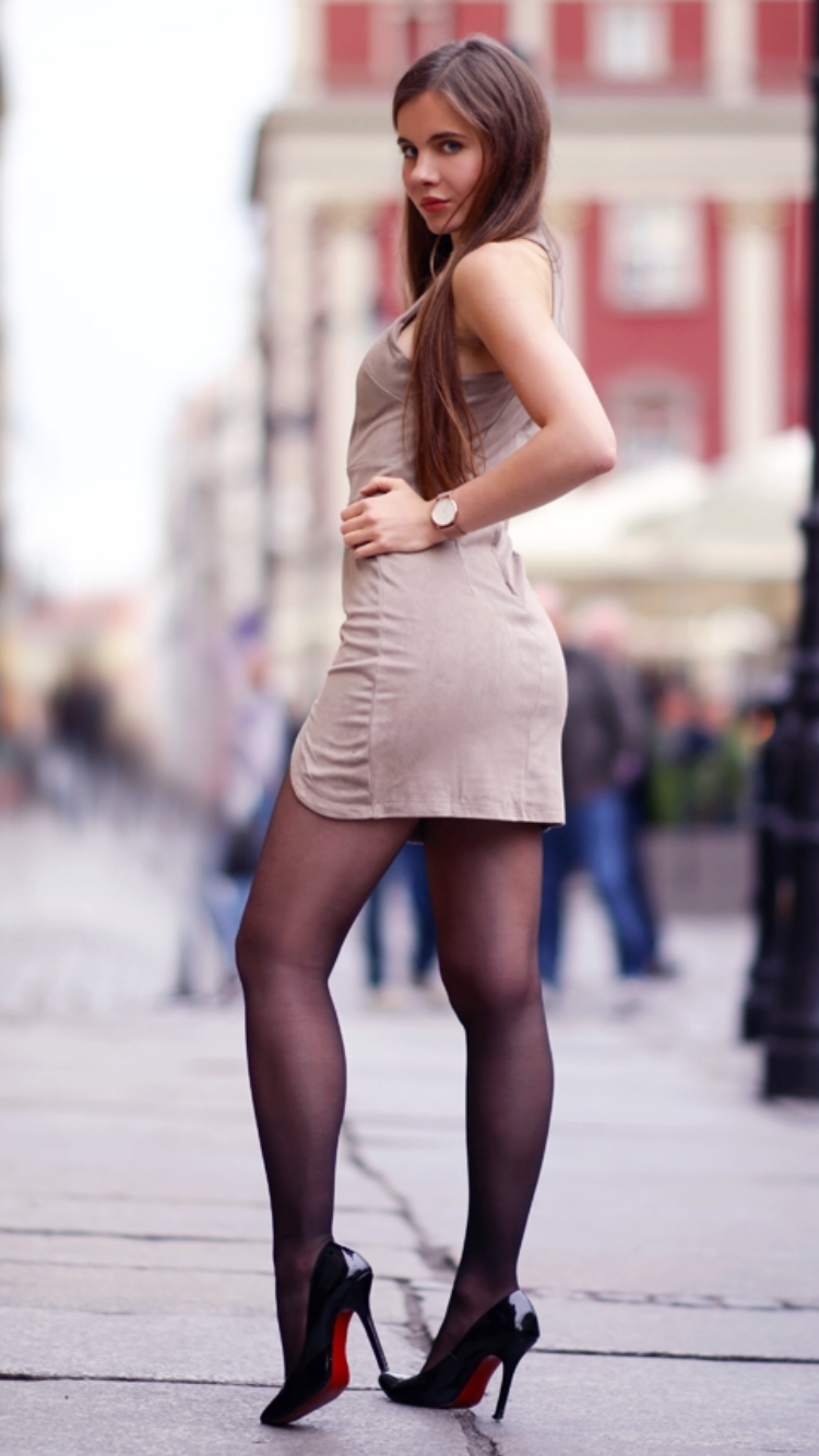 Suede Short Dress Black Tights High Heels And Lacquered