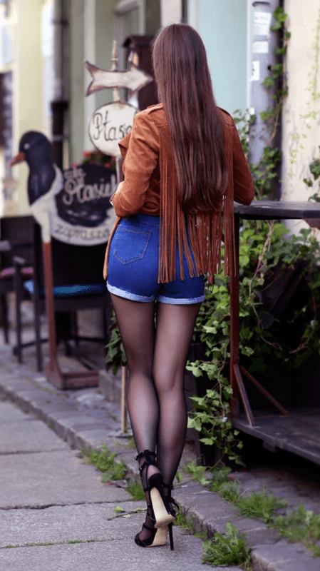 Brown Suede Jacket Denim Shorts Black Tights And High