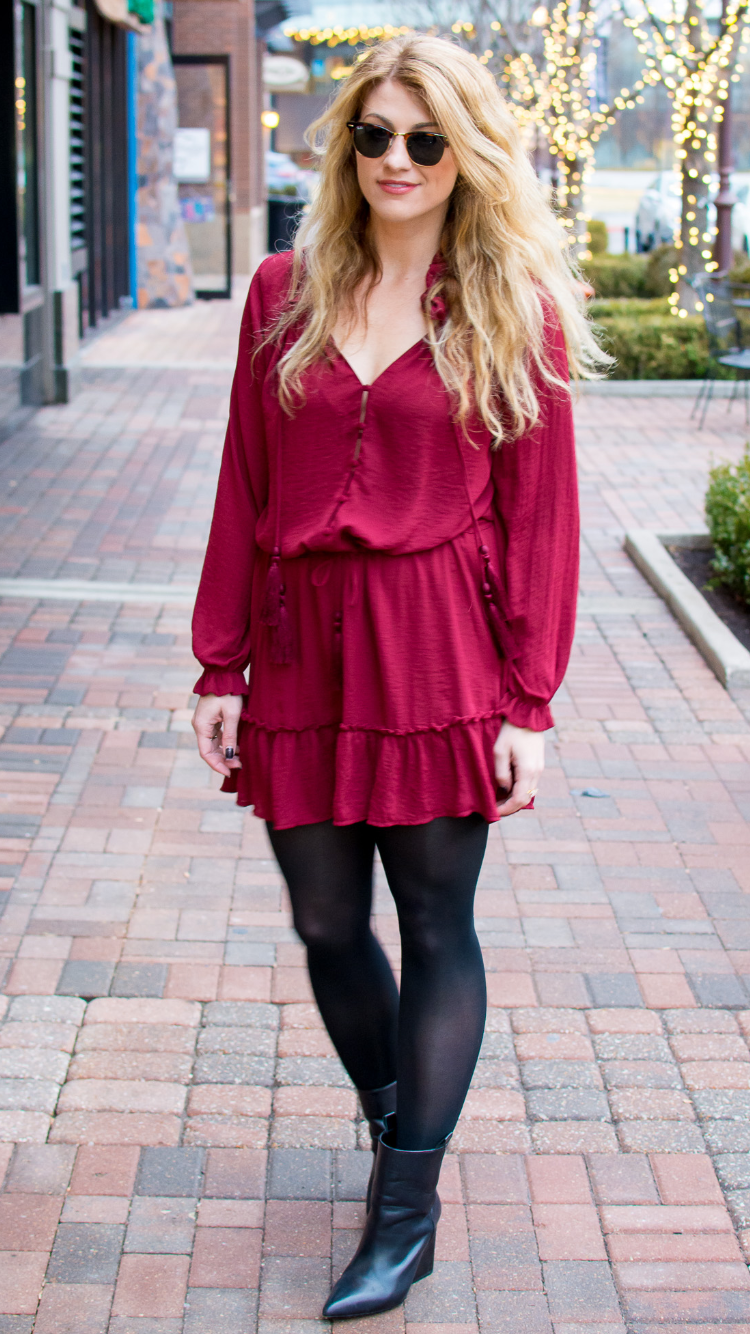 Valentineu2019s Day Outfit Idea Red Dress and Black Boots. - Fashion Tights