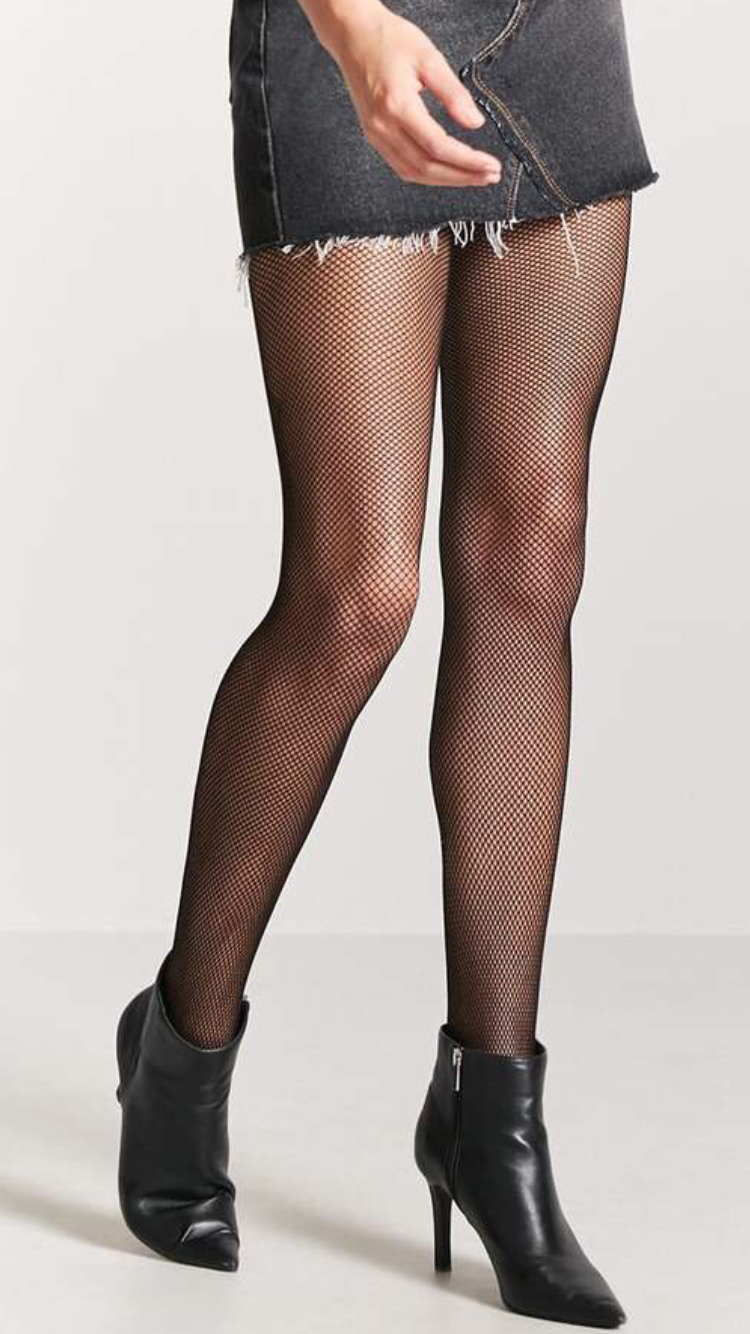 8f67eb40552c1 FOREVER 21 Micro-Fishnet Tights A pair of sheer micro-fishnet tights with  an elasticized waist.